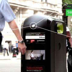"""Renew has developed """"smart"""" recycling bins that detect passing smartphones' Wi-Fi signals, and could soon be used to serve ads to specific individuals."""
