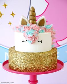 Unicorn Birthday Cake Recipe - DIY Unicorn Birthday Cake - learn how to make this beautiful cake for a girl birthday party! by BirdsParty. Diy Unicorn Birthday Cake, Easy Unicorn Cake, Unicorn Cake Pops, Birthday Cake Girls, Unicorn Birthday Parties, Unicorn Cakes, Birthday Ideas, 4th Birthday, Easy Birthday Cakes