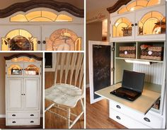 Restore has some old entertainment centers from hotels. one of them would make a super homework nook. Love the slide out and the interior lights Armoire Redo, Tv Armoire, Computer Armoire, Repurposed Furniture, Home Furniture, Furniture Ideas, Repurposed Items, Furniture Refinishing, Furniture Makeover