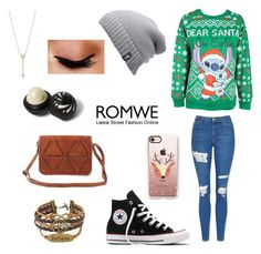 """""""Ugly Sweater🌲"""" by kenzie4ever11 on Polyvore featuring Disney, Topshop, Converse, Casetify, The North Face, EF Collection, Avon and River Island"""