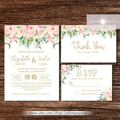 Gorgeous Floral Watercolor Invitation Wedding by JadorePaperie