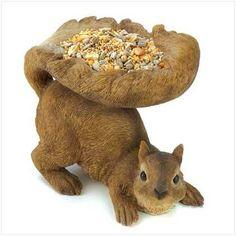 Woodland Squirrel Bird Feeder $9.95 https://www.facebook.com/Twogirlsdecor/posts/792345247548290:0 #homedecor #garden #birds #squirrel #twogirlsdecor #decor #yard #feeder