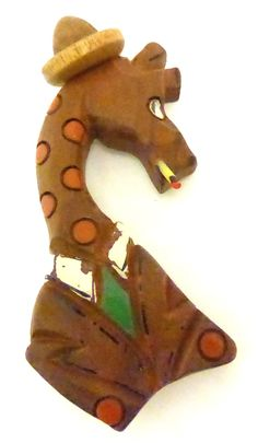 Vintage Deco 1940's Giraffe Dressed in Suit and Hat Wood Pin
