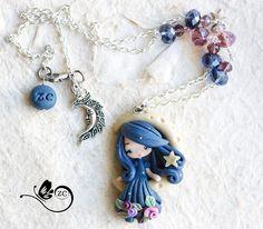 polymer clay necklace/ moon collection / fimo / par ZingaraCreativa