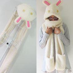 Korean winter warm cashmere super adorable cartoon rabbit scarves hats gloves one oversized hooded scarves $16.80