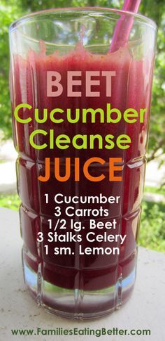 Beet Cucumber Cleans     Beet Cucumber Cleanse Vegetable Juice  #recipes   #healthyeating   #eatreal   https://www.pinterest.com/pin/17310779794226591/  Also check out: http://kombuchaguru.com