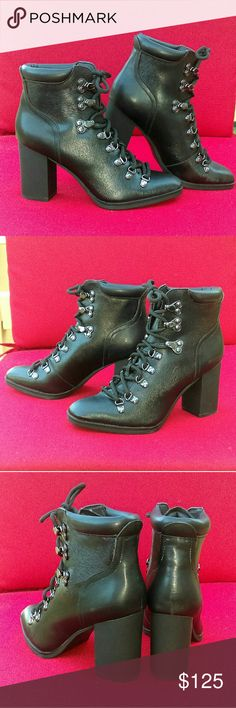 """Calvin Klein Women's Size 6.5 Ankle Bootie Brand new ethnic,never been worn. No defects. Classy 4"""" heel ankle bootie to wear from day to night. Cool texture on body of the shoe, with silver eyelets for the shoestrings. Calvin Klein Shoes Ankle Boots & Booties"""
