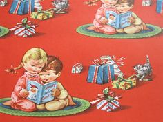 Vintage Christmas Wrapping Paper - Red, White and Green Holly ...
