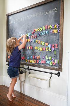 Chalkboard Wall Playroom, Framed Chalkboard Walls, Kids Chalkboard, Magnetic Chalkboard, Playroom Decor, Chalk Board Diy, Diy Magnetic Board, Magnetic Wall, Toddler Playroom