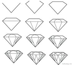 How to draw a simple diamond Tattoo ideas in 2019 Diamond diamond drawing - Drawing Tips Drawing Lessons, Drawing Techniques, Drawing Tips, Painting & Drawing, Drawing Ideas, Drawing Drawing, Drawing Pictures, Sketch Ideas, Daisy Drawing
