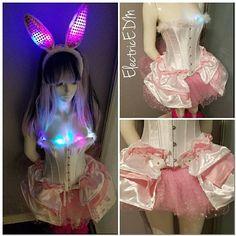 Items similar to LED Sexy Bunny Halloween Costume (Small) on Etsy Bunny Halloween Costume, Corset Costumes, White Corset, Pink Tutu, Satin Skirt, My Etsy Shop, Led, Check