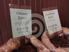 A New York City coffee shop sells Obama Blend coffee beans described as, `A smooth, hopeful, confident blend of African, Indonesian and Hawaiian Coffees`.