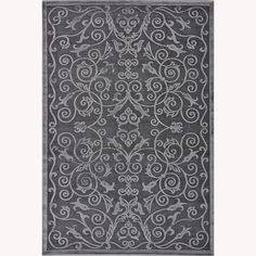 Enhance your transitional home decor with this Madison area rug. The grey chenille-blend rug features an elegant floral scrollwork pattern and a unique sheen that will brighten any decor.