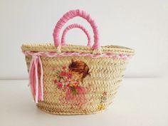 Monica Gars/ Capazo de palma para niña / Wicker beach basket for girl/ www.monicagars.com
