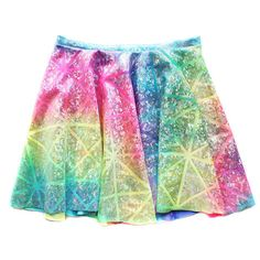Chain Candy spring collection of 2015. Beautiful high quality luxury holographic fabric hand cut and sewn in a New York studio creating this amazing rainbow dyed circle skirt with a high waist. Length