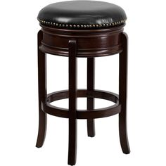 29-inch Backless Wood Bar Stool with Leather Swivel Seat