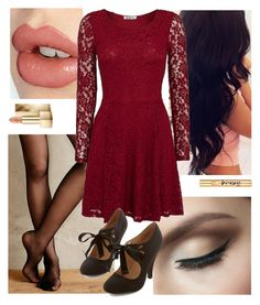 """christmas outfit"" by jaceylea on Polyvore featuring Fogal, Charlotte Tilbury, WalG, Burberry and Yves Saint Laurent"