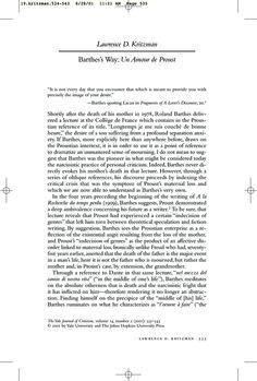 Project MUSE - Barthes's Way: Un Amour de Proust