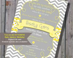 You Are My Sunshine Baby Shower Invitation Mega Pack, Yellow And Grey,  Printable, Digital File, DIY