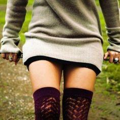 Long sweater, tall socks... Cute with leggings