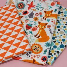 Lot de 3 coupons assortis motifs renards, triangles, bulles ,  140x45cm minimum