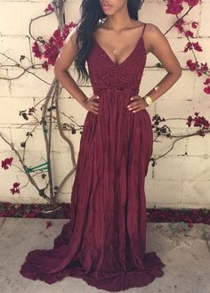 Lace Patchwork Wine Red Maxi Dress
