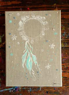 Winter Dreamcatcher ~ sweet and serene 9x12  $70 + shipping from Raleigh, North Carolina