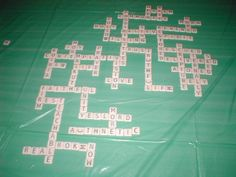 Prayer station where people add words to a scrabble board. We did this at synod council this year. Very cool.