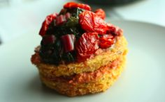 Adrienneats: Polenta cakes + braised chard with roasted red pepper pesto