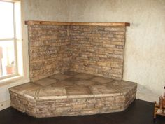woodstoves | Stone corner hearth - ready for wood stove