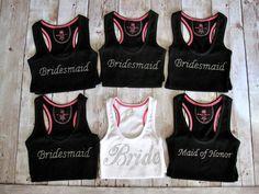 6 Bride Bridesmaid Tank Tops. Bride, Bridesmaid, Maid of Honor. Custom Bridal Party Rhinestone Shirts. Bachelorette Party. Wedding Gift