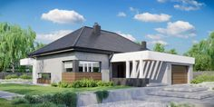 DOM.PL™ - Projekt domu CPT HomeKONCEPT-31 CE - DOM CP1-34 - gotowy koszt budowy Home Building Design, Building Plans, Building A House, Villa Design, House Design, Bungalow Style House, Gazebo, Pergola, House Construction Plan