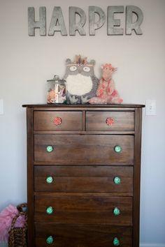 Toddler Room | Antique Dresser with Mismatched Knobs