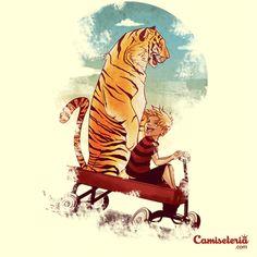 Camiseta 'Menino e seu tigre em um carrinho' - Catalogo Camiseteria.com   Camisetas Camiseteria.com - Estampa, camiseta exclusiva. Faça a sua moda!