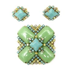 Unsigned Schreiner Turquoise and Jade Brooch and Earring Set