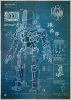 new blueprints have been released for the giant robots that we'll see inGuillermo del Toro's Pacific Rim