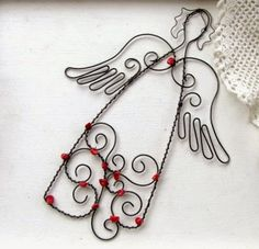 Wire Crafts, Metal Crafts, Diy And Crafts, Diy Angels, Beaded Angels, Wire Wrapped Jewelry, Wire Jewelry, Christmas Angels, Christmas Crafts