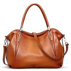 AINIMOER Womens Genuine Leather Vintage Shoulder Bag Ladies Handbags Tote Top-handle Purse Cross Body Bags(Sorrel)