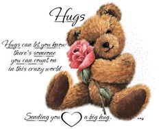 Hugs And Kisses Quotes, Hug Quotes, Sweet Quotes, Good Night Wishes, Good Night Quotes, Hug Images, Count On You, Sending Hugs, Online Friends