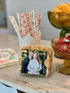 Personalized gourmet popcorn favors with photo.