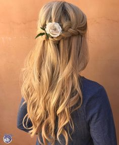 waterfall braid   with flower   long curly hairstyle   with hair extensions   blonde   half up half down