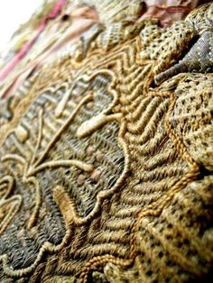 French embroidery gold metal thread 1700's amazing detail and scope of stitches