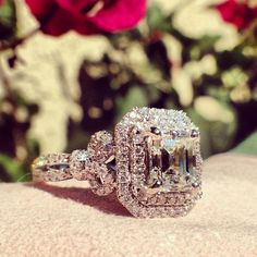Kirk Kara Pirouetta K172E85X65L -- THIS with a 3ct+ square cushion cut Morganite and accent diamonds on every side of the setting... ❤️
