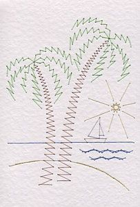 Palm trees pattern at Stitching Cards | Prick And Stitch Is My Craft