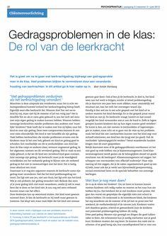 Gedragsproblemen in de klas: De rol van de leerkracht - Springer
