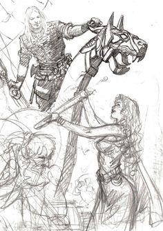 Planche originale de bande dessinée, galerie Napoléon  : SAGA VALTA - Illustration originale Drakkar inspirée de SAGA VALTA par Mohamed AOUAMRI   -