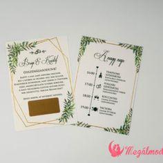 Kaparós sorsjegy meghívó 6. #esküvői #meghívó #nyomtatott #esküvőimeghívó #kaparóssorsjegy #egyedi #greenery #wedding #weddinginvitation  #unique #scratchcards #green #gold Wedding Cards, Wedding Invitations, Wedding Ecards, Wedding Maps, Wedding Invitation Cards, Wedding Invitation, Wedding Card, Save The Date Invitations, Wedding Invitation Design