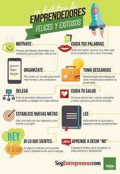 10 hábitos de los #emprendedores felices y exitosos #infografia #infographic #autónomo