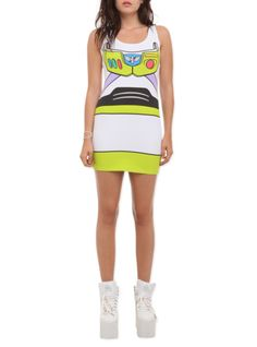 Stretchy, body-hugging dress with Buzz Lightyear costume design.