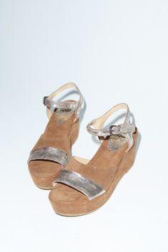 NOW Velour Platform Sandal in Brown
